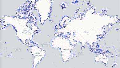 Photo of شيب فايل خط ساحل العالم ، مقياس 1:10 مليون لعام 2012