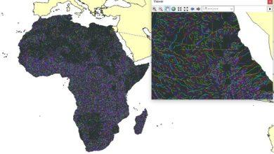 Photo of راستر الشبكة النهرية بنظام Strahler لقارة افريقيا
