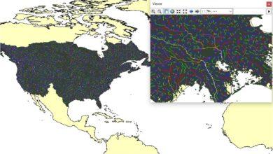 Photo of راستر الشبكة النهرية بنظام Strahler لقارة امريكا الشمالية
